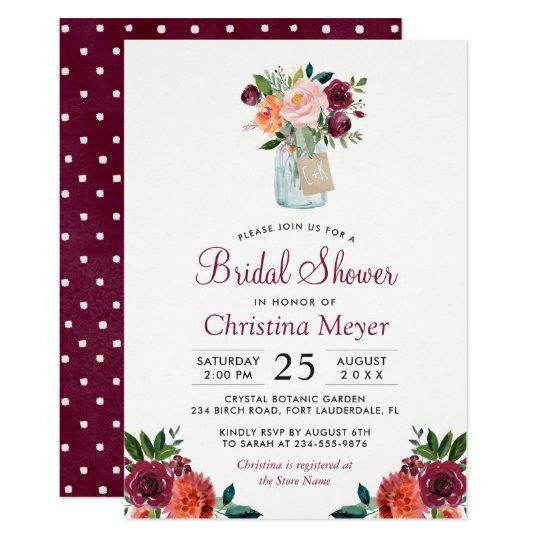 burgundy blush pink floral mason jar bridal shower invitation