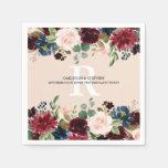 Burgundy Blush Pink Floral Monogram Wedding Napkin