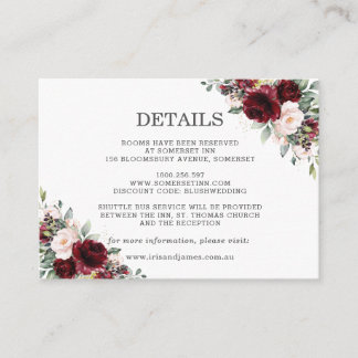 Burgundy Blush Pink Floral Wedding Details Enclosure Card