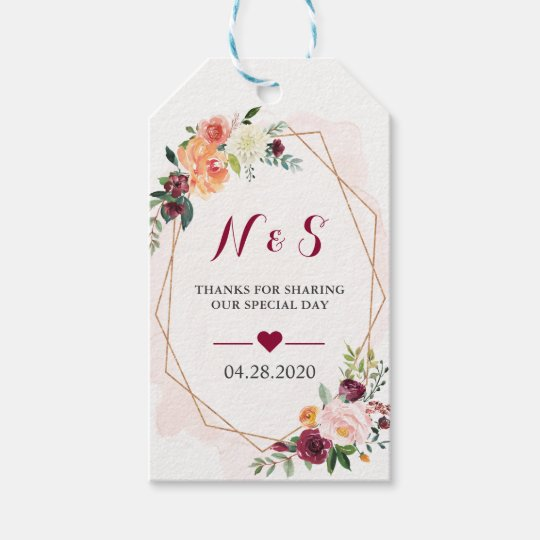Wedding Thank You Gift Tags: Burgundy Blush Pink Floral Wedding Favor Thank You Gift