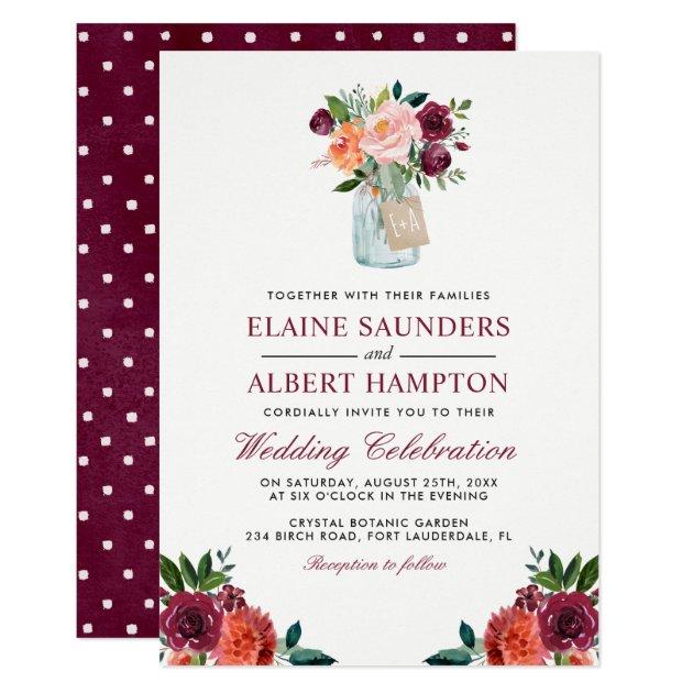 Rustic Burgundy Purple Floral Script Wedding Invitations: 24 Rustic Invitation Ideas For Outdoor Country Weddings