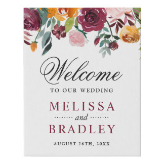 Burgundy Blush Pink Orange Flowers Wedding Sign
