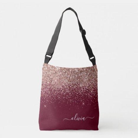 Burgundy Blush Pink Rose Gold Glitter Monogram Crossbody Bag