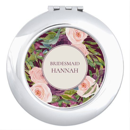 Burgundy Blush Pink Watercolor Floral Bridesmaid Compact Mirror