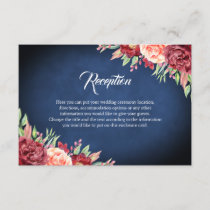 Burgundy Blush Rose Floral Navy Chalkboard Wedding Enclosure Card
