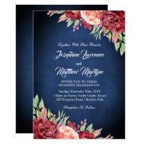Burgundy Blush Rose Floral Navy Chalkboard Wedding Invitation