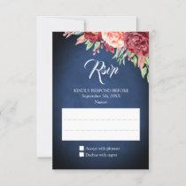 Burgundy Blush Rose Floral Navy Chalkboard Wedding RSVP Card