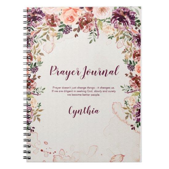 Burgundy Blush Rust Floral Prayer Journal