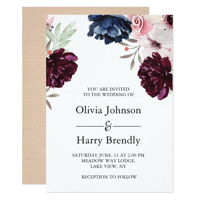 Burgundy Blush Rustic Burlap Floral Wedding Invitation