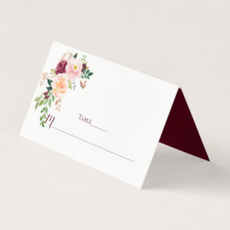 Burgundy Blush Saffron Floral Bouquet Place Cards