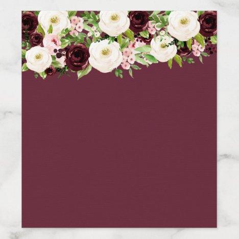 Burgundy Blush Wedding Rose Floral Envelope Liner