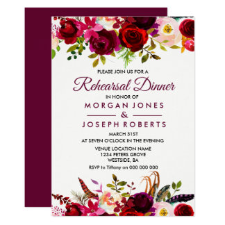 Burgundy Boho Floral Rehearsal Dinner Invitation