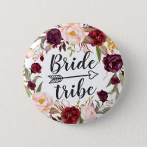 Burgundy Boho Red Blush Floral Wreath Bride Tribe Pinback Button