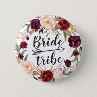 Burgundy Boho Red Blush Floral Wreath Bride Tribe Pinback Button