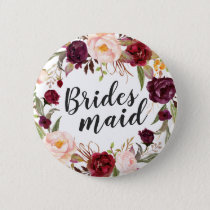 Burgundy Boho Red Blush Floral Wreath Bridesmaid Button