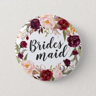 Burgundy Boho Red Blush Floral Wreath Bridesmaid Button