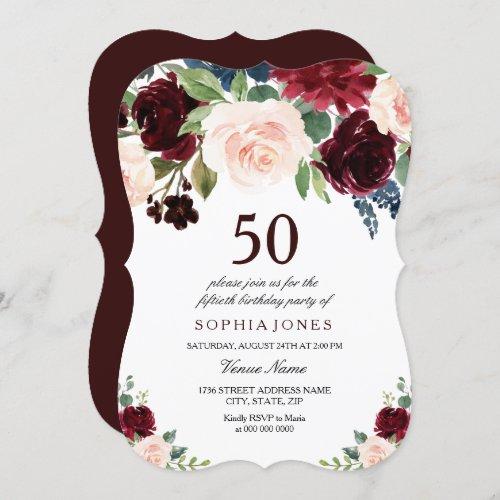 Burgundy Boho Watercolor Blush 50th Birthday Party Invitation
