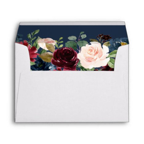 Burgundy Botanical Floral Navy Blue for 5x7 cards Envelope