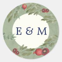 Burgundy Botanical Greenery Monogram Wedding Classic Round Sticker
