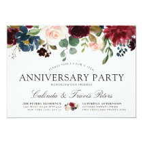Burgundy Bouquet | Anniversary Party Invitation