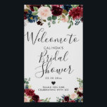 """Burgundy Bouquet   Bridal Shower Welcome Poster<br><div class=""""desc"""">A unique burgundy floral themed welcome poster tailored specifically to your future bridal shower.  All elements of this item are unlocked and customizable by using the customization function. Enjoy being creative and making it your own.</div>"""