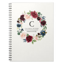 Burgundy Bouquet | Floral monogram Notebook
