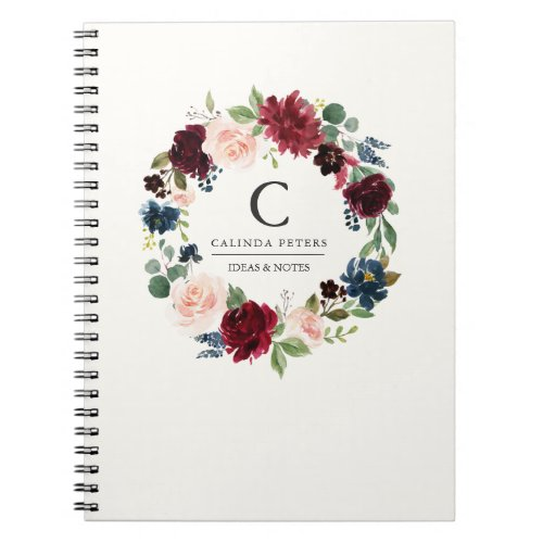 Burgundy Bouquet  Floral monogram Notebook
