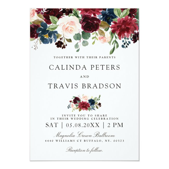 Burgundy Bouquet | Floral Wedding Invitation