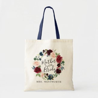 Burgundy Bouquet Wreath   Mother of the Bride Tote Bag