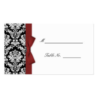 Burgundy Bow Damask Wedding Placecards Double-Sided Standard Business Cards (Pack Of 100)