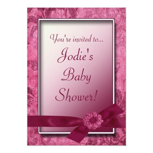 Burgundy Bow & Flowers Baby Shower Invitation