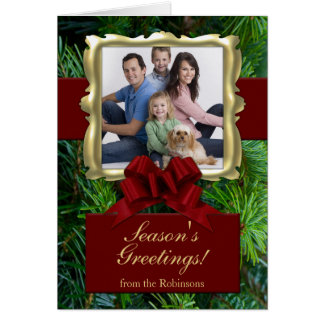Burgundy Bow, Rich Traditions Custom Photo Cards