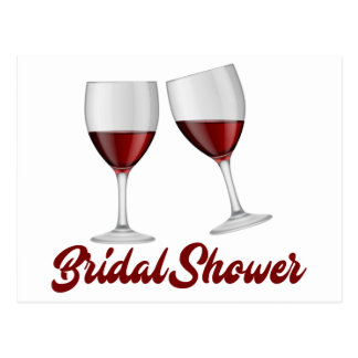 Burgundy Bridal Shower Champagne Wine Glasses Postcard