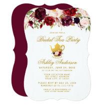 Burgundy Bridal Shower Tea Party Gold Invite GB