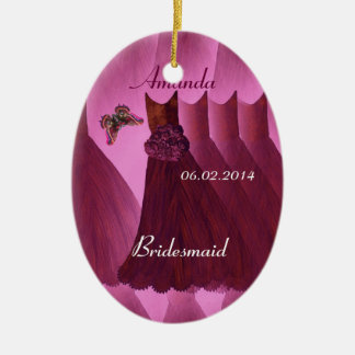 Burgundy  Bridesmaids Butterfly Thank You Wedding Ceramic Ornament