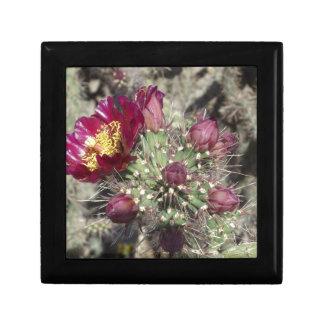 Burgundy Cactus Flowers Jewelry Box