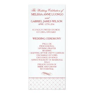 Burgundy Checked Pattern Wedding Ceremony Program Card