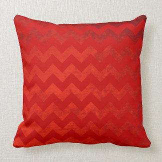 Burgundy Chevrons On Red Velvet Effect Background Throw Pillow