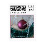 Burgundy Christmas Ornament Stamp choose size