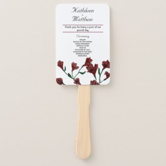 Burgundy Clematis Watercolor Floral Wedding Hand Fan
