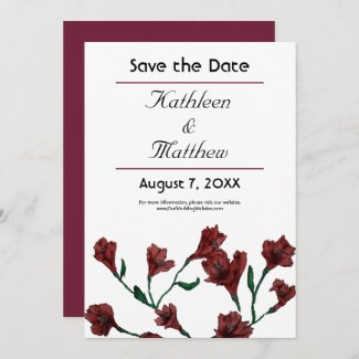 Burgundy Clematis Watercolor Floral Wedding Save The Date