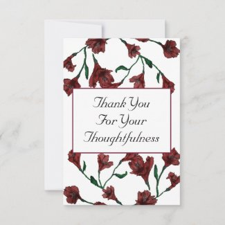 Burgundy Clematis Watercolor Floral Wedding Thank You Card