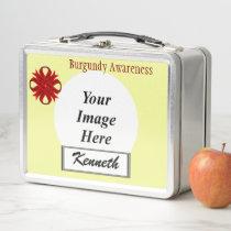 Burgundy Clover Ribbon by Kenneth Yoncich Metal Lunch Box