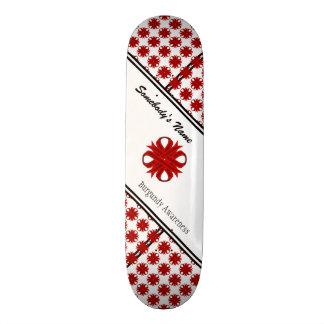 Burgundy Clover Ribbon by Kenneth Yoncich Skateboard