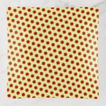 Burgundy Clover Ribbon by Kenneth Yoncich Trinket Trays