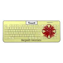Burgundy Clover Ribbon by Kenneth Yoncich Wireless Keyboard