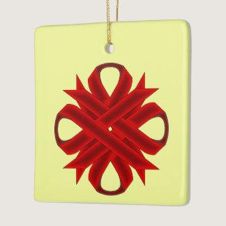 Burgundy Clover Ribbon Ceramic Ornament