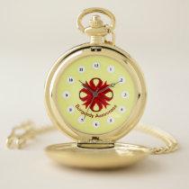 Burgundy Clover Ribbon (Cf) by K Yoncich Pocket Watch