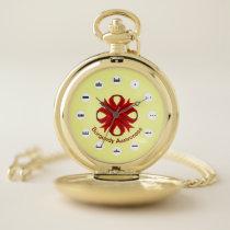 Burgundy Clover Ribbon (Mf) by K Yoncich Pocket Watch