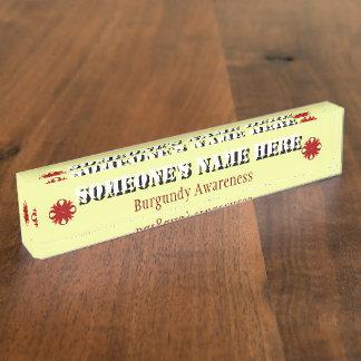 Burgundy Clover Ribbon Nameplate